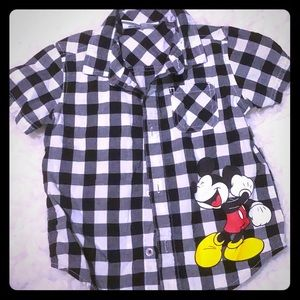 BOYS Mickey Mouse checkered button down